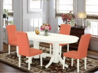 5 Pc Dining Set For 4- Table With Leaf & Four Parson Chair Color Pink Flamingo - 1