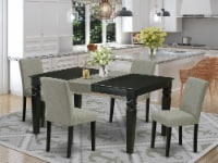 5Pc Set, A Table & 4 Chair With Black Leg & Linen Fabric Shitake - 1