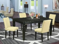 5Pc  42/60   table With 18 In Self Storing & Four Parson Chair ,Color Eggnog - 1
