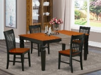 East West Furniture Weston 5-piece Dining Set with Wood Seat in Black/Cherry - 1