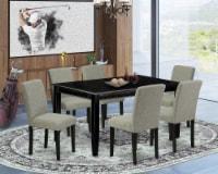 7Pc 60 Inch Table & Six Parson Chair With Black Leg & Linen Fabric Shitake - 1