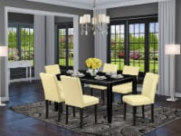 7Pc 60 Inch Table & Six Parson Chair With Black Leg & Pu Leather Color Eggnog - 1