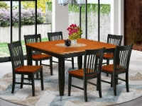 7Pc Square 36/54 Inch Family Table With 18 In Self Storing & Six Chairs - 1