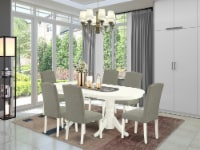 7 Pc Dining Set Table With Self Storing & Six Chair With Dark Shitake - 1