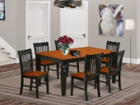 WENO7-BCH-W 7Pc Rectangle 42/60  Table With 18 In Leaf And 6 Wood Seat Chairs - 1