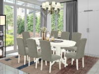 9 Pc Kitchen Set For 8 Table With Leaf & Eight Chair With Dark Shitake - 1