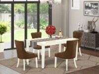 5Pc Dining Set -Table & Four Chairs with Dark Coffee Fabric, Linen White - 1