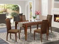CAIP5-MAH-C 5Pc Dining Set Includes a Table & Four Linen seat Chairs, Mahogany - 1