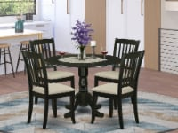 5Pc Dining Set -Round table & Four Vertical Slatted Linen Seat Chairs, Black - 1