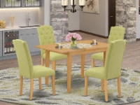 5Pc Dining Set -Table with & Four Chairs with Lime Green Fabric, Oak - 1