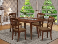 5Pc Dining Set -Table with & Four Vertical Slatted Linen seat Chairs, Mahogany - 1