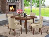 5Pc Dining Set -Table with & Four Chairs with Doeskin Fabric, Mahogany - 1
