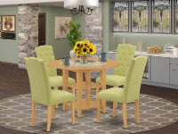 5Pc Dining Set -Round table & Four Chairs with Lime Green Fabric, Oak - 1