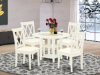 5Pc Dining Set -Round table & Four Double X Back Linen seat Chairs, Linen White - 1