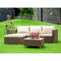 3Pc Brown Wicker Outdoor-Furniture Sectional Sofa Set Linen Cushion, Medium