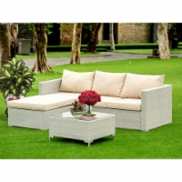 3Pc Natural Color Wicker Outdoor-Furniture Sectional Sofa Set Linen Cushion, Medium