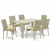 GUGU7-03A 7Pc Outdoor-Furniture Natural Color Wicker Dining Set - 1