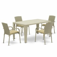 GUJU5-03A 5Pc Outdoor-Furniture Natural Color Wicker Dining Set