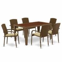 GUJU7-02A 7Pc Outdoor-Furniture Brown Wicker Dining Set