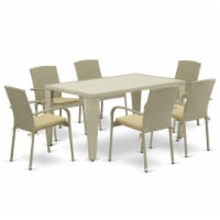 GUJU7-03A 7Pc Outdoor-Furniture Natural Color Wicker Dining Set