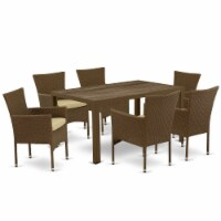 JUBK7-02A 7Pc Outdoor-Furniture Brown Wicker Dining Set
