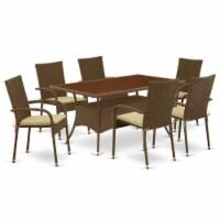 OSGU7-02A 7Pc Outdoor-Furniture Brown Wicker Dining Set