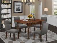 5Pc Dinette Set-Small Table & 4 Chairs with Shitake, Linen Fabric,Mahogany - 1