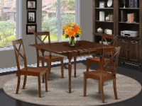 5Pc Table Set for 4- a  Table & 4 Chairs,Drop Leaf Table with Chairs,Mahogany - 1