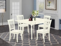 5Pc Table Set -table & 4 Chairs,Drop Leaf Table with Chairs,Linen White - 1
