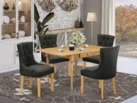 5Pc Table Set- a Table & 4 Chairs with Dark Gotham Grey, Linen Fabric,Oak - 1