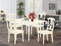 5Pcs Dinette set-Strong Two 9  Drop Down Leaves table & 4 Chairs,Linen White - 1