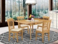 5Pcs Table set-Heavy Duty Two 9  Drop Down Leaves Solid Table & 4 Chairs,Oak - 1