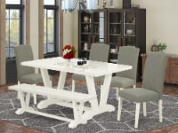 East West Furniture V-Style 6-piece Wood Dining Set in White/Shitake - 1