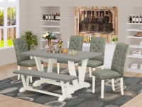 6-Piece Table Set- 4 Chairs-Top & Wooden Legs table & Kitchen Bench-Linen White - 1