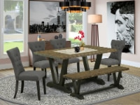 East West Furniture V-Style 6-piece Wood Dining Set in Jacobean/Black/Gray - 1