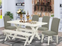 East West Furniture X-Style 6-piece Wood Dining Set in Linen White/Dark Shitake - 1
