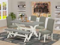 6Pc Table Set a table Top & Dining Bench-4 Chairs-Linen White - 1