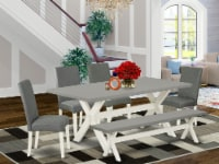 6Pc Dinette Set-4 Chairs,a Table Bench Top & 1 Table Top -Linen White - 1