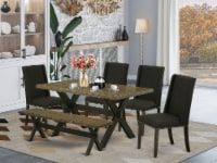 East West Furniture X-Style 6-piece Wood Dining Room Set in Black - 1