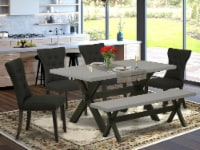 X696GA124-6 6-Pc Table Set-4 Chairs, a Dining Bench Top & 1 Table Top-Black - 1