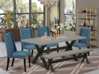 X697FL121-6-6-Piece Dinette Set-4 Chairs, an Bench & Table Solid Wood Structure - 1