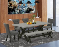 -6-Piece table Set-4 Chairs, a Lovely Bench & Dinner Table Hardwood Structure - 1