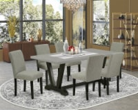 V697AB106-7 7-Pc Table Set-6 Chairs & 1 table Top with High Chair Back-Black - 1