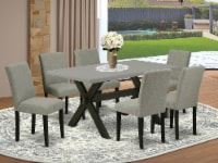 7-Pc Dinette Set-6 Chairs & 1 Table Top with High Chair Back-Linen White - 1