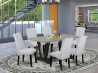 V696BA105-7 7-Pc Dinette Set - 6 Chairs & 1 Cement table - Wire Brushed Black - 1