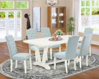 7-Piece Dining Set- 6 Chairs-Table Top & Wooden Legs-Linen White & Linen White - 1