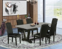 V697EN169-7 7-Pc Dining Set-6 Chairs & 1 Table Top with High Chair Back-Black - 1
