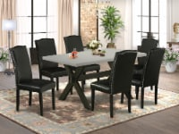 X696EN169-7 7-Pc Table Set-6 Chairs & 1 table Top with High Chair Back � Black - 1