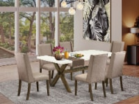 X727FL716-7 - 7-Piece Small Table Set - 6 Chairs and a Table Solid Wood Frame - 1