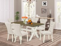 X076Ga235-7 - 7-Piece table Set - 6 Chairs & a table Hardwood Structure - 1